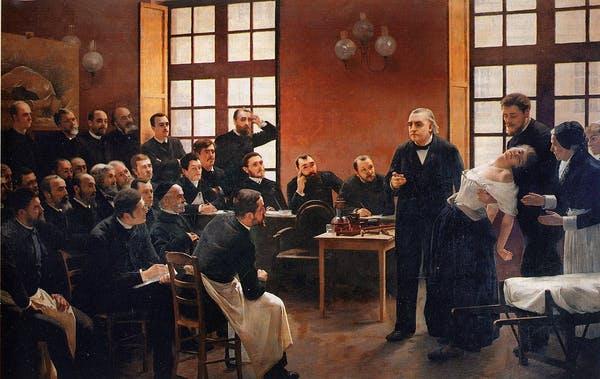 Charcot care demonstrează hipnoza pe un pacient isteric. André Brouillet / Wikimedia Commons
